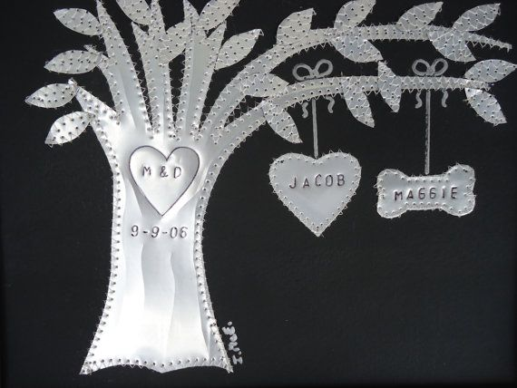 Anniversary gift year wedding aluminum tin gift hearts