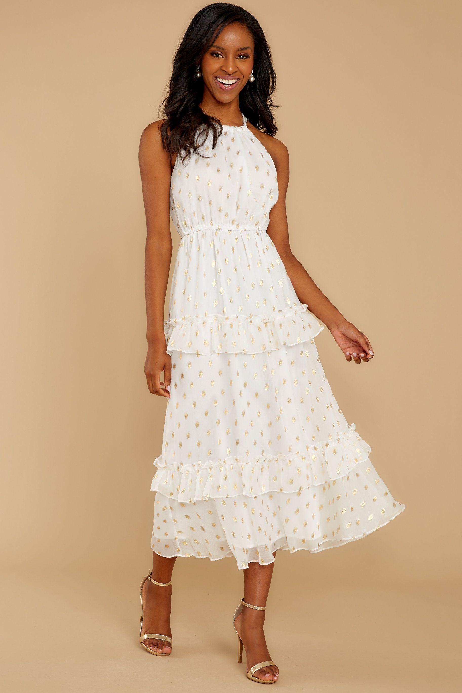 Darling girl white and gold polka dot midi dress in 2020