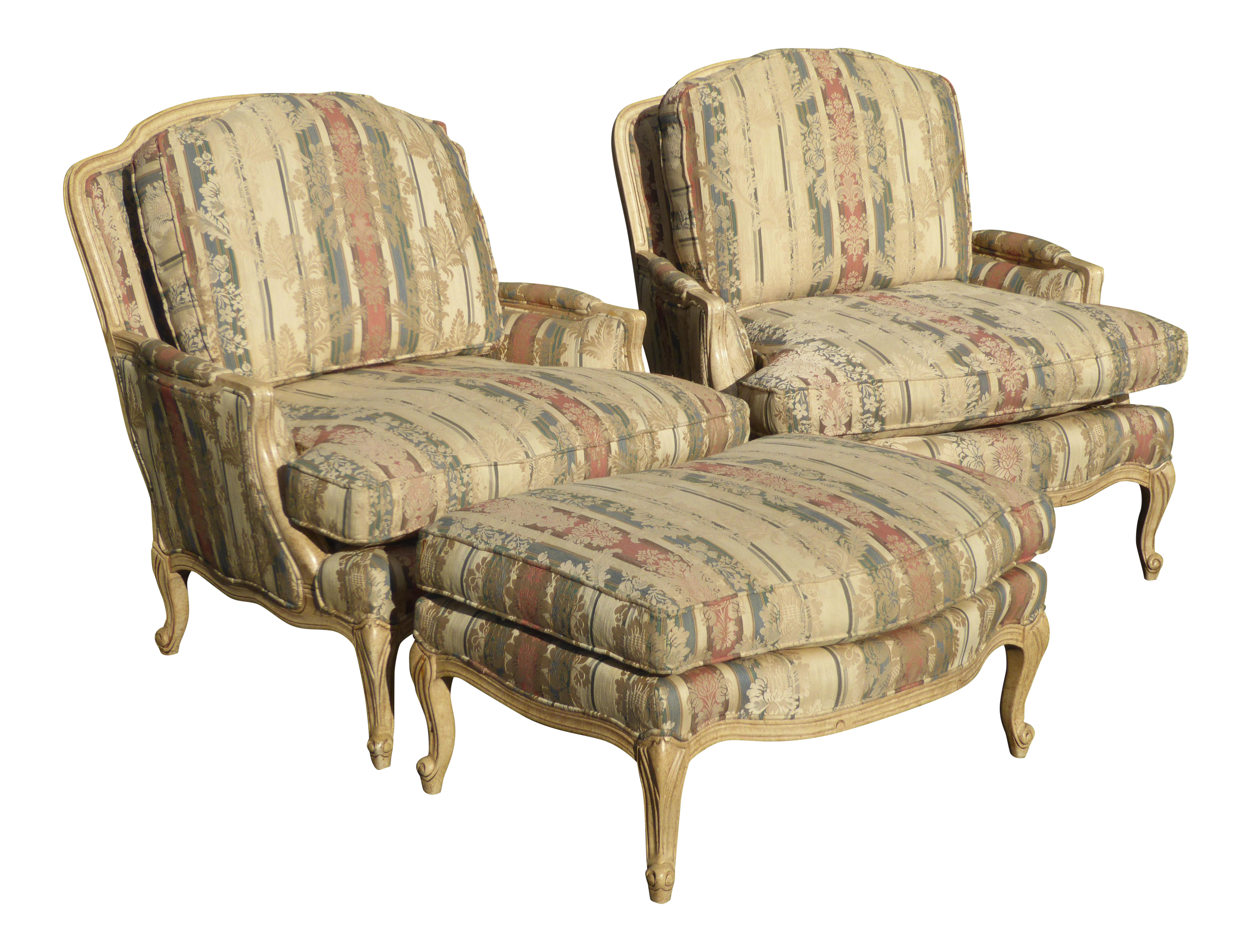 Sam Moore French Striped Accent Chairs & Ottoman Set of 3