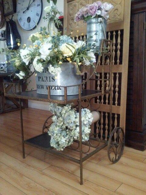 Wine cart into flower cart