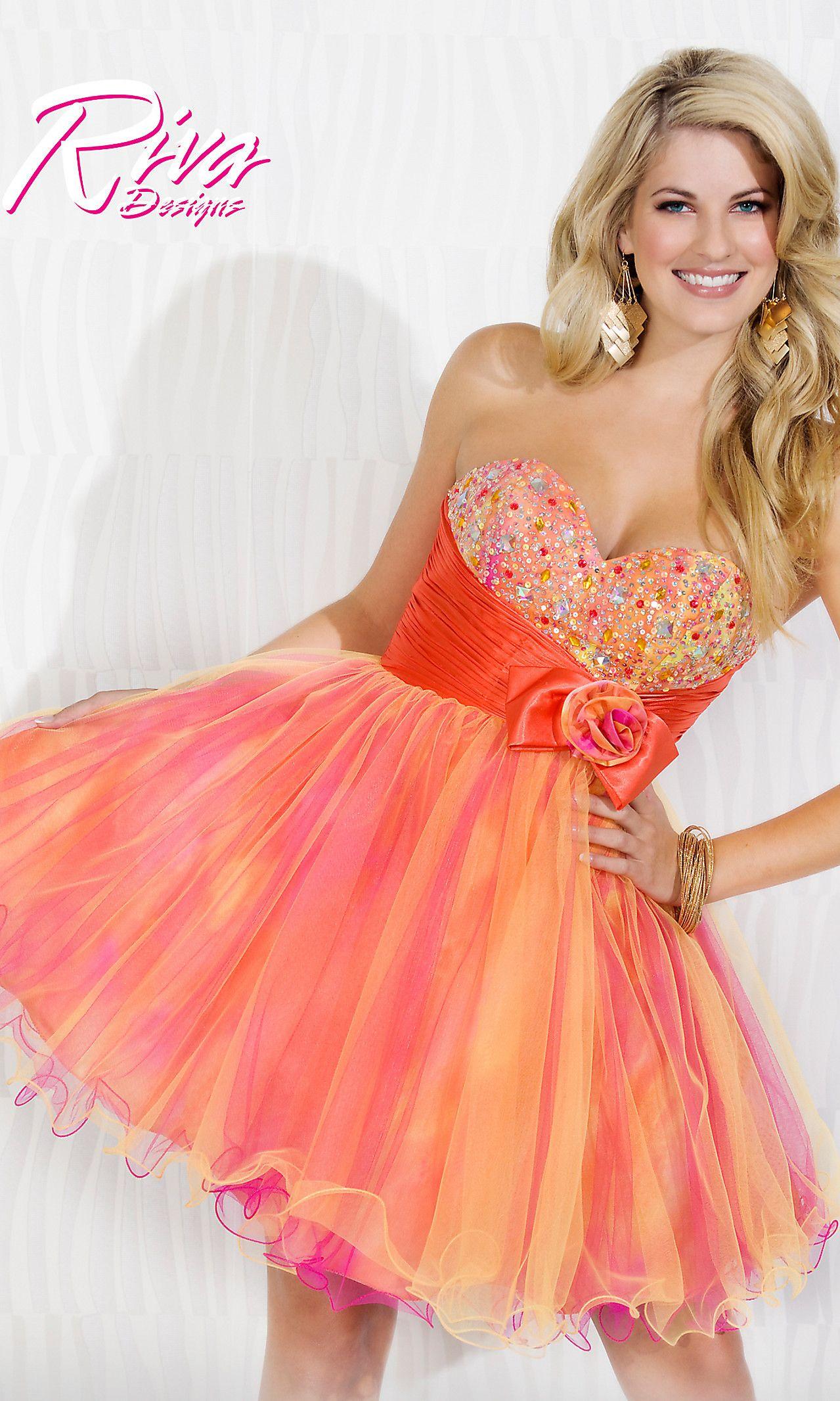 Orange and Pink Short Formal Dresses