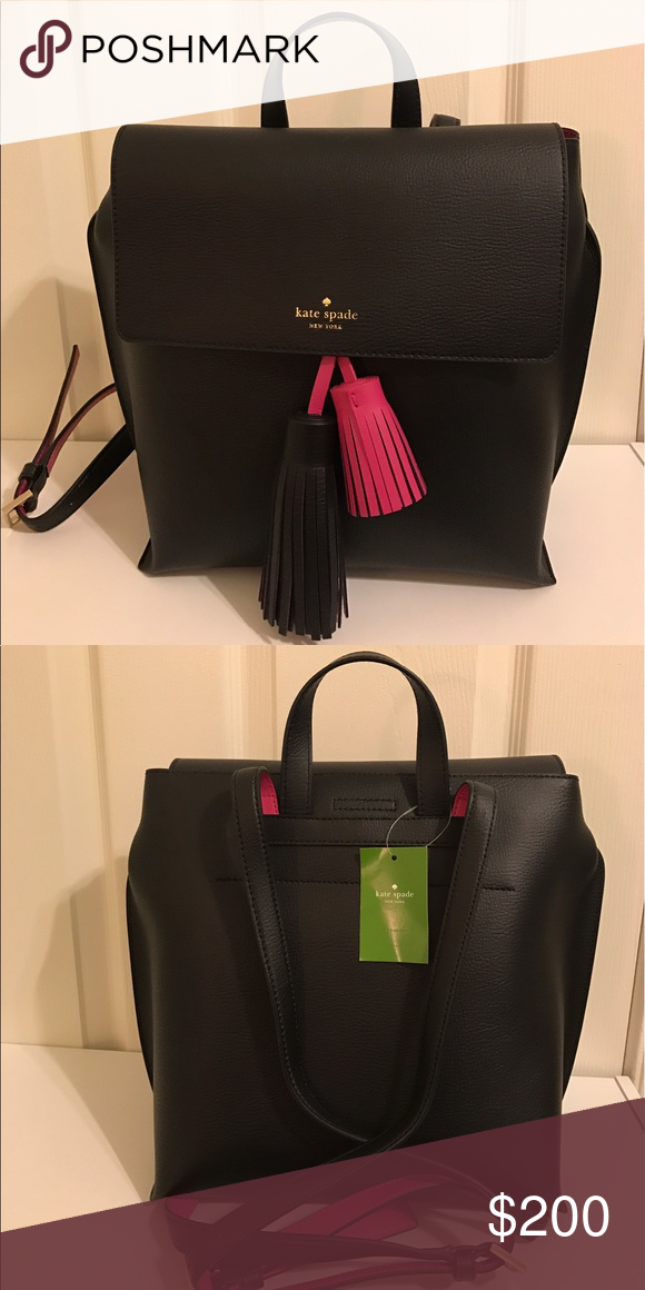 "Kate Spade Kirk backpack Soft pebble embossed leather w/ matching trim. Approximately 11 x 11 x 6, drop 4"" handheld, total strap length 32"". Features magnetic tab closure, interior pocket. kate spade Bags Backpacks"