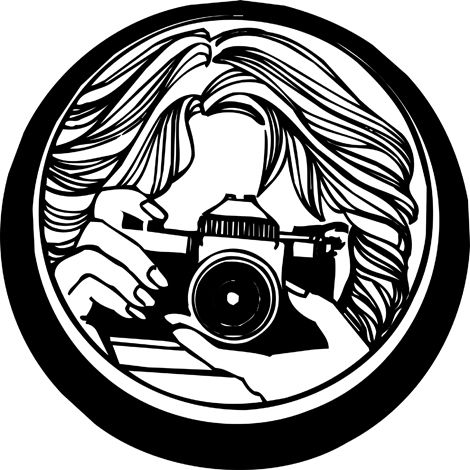 Clipart Images Of A Closeup Black And White Illustration Of A Woman Taking A Photo Photography Concert Photography Black And White Illustration
