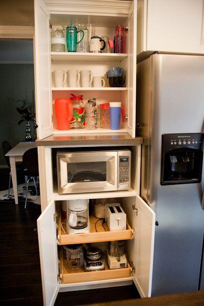 Appliance garage put shelves higher top shelf microwave - Kitchen appliance storage cabinet ...