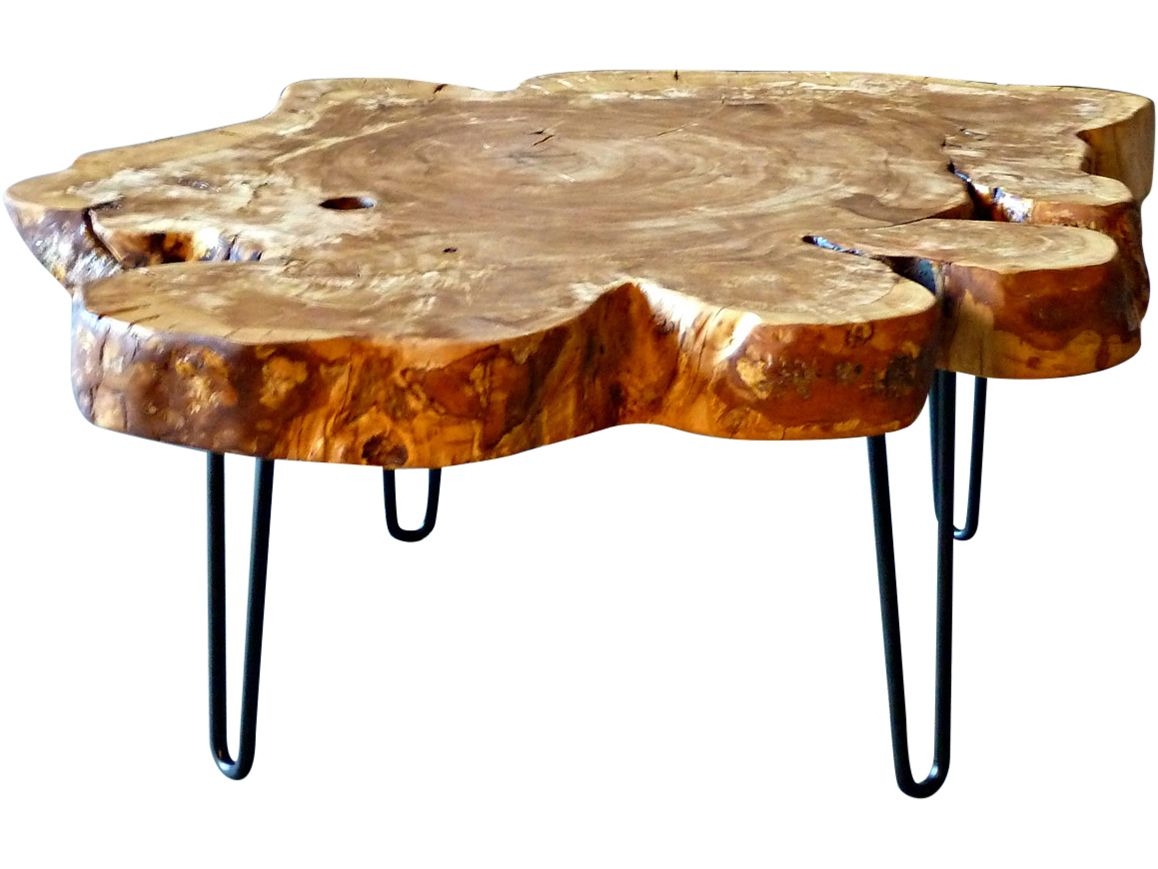 round live edge coffee table