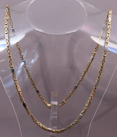 heavy 14 karat yellow gold king's necklace with white gold joints