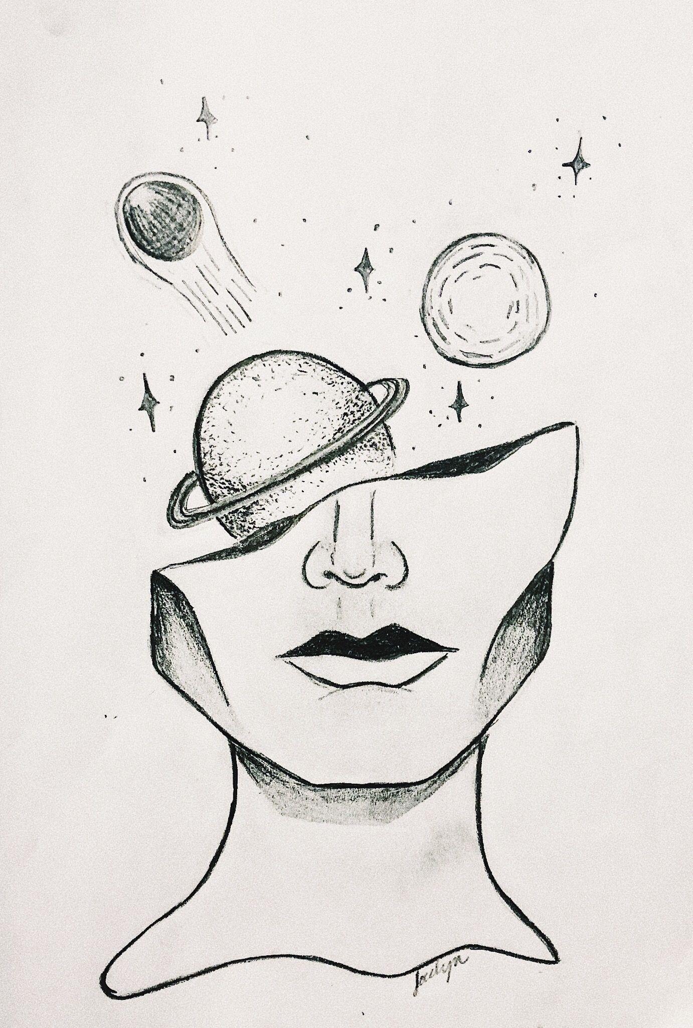 Simple Space Aesthetic Drawings