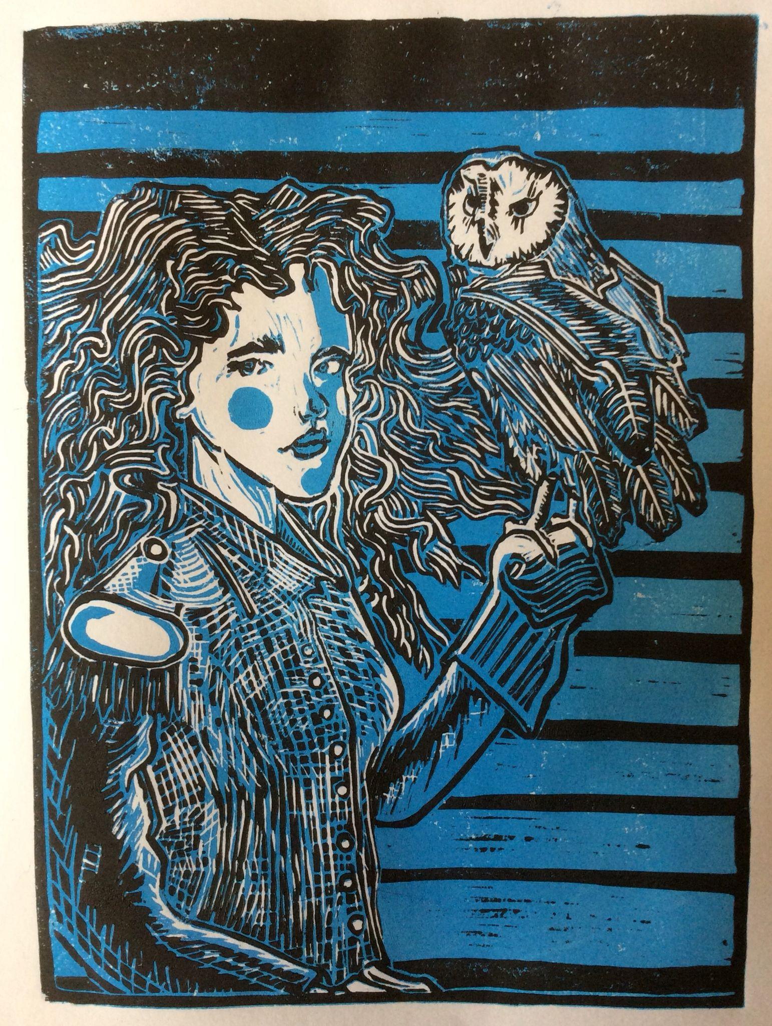 Girl With Owl Linocut