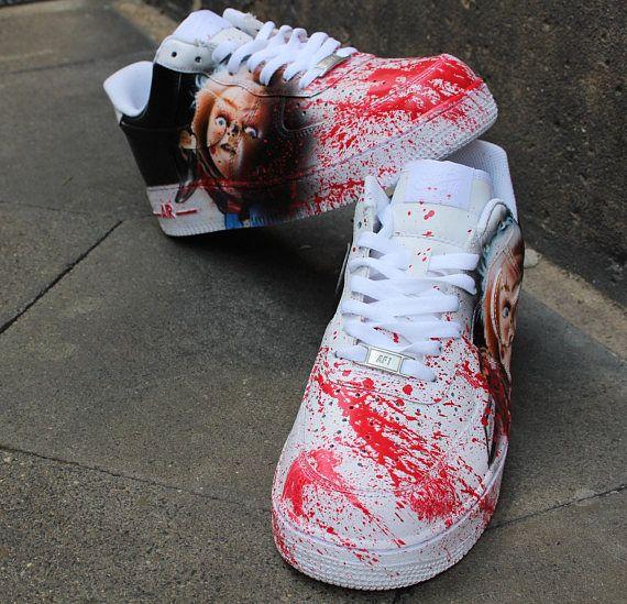 Custom Nike Air Force One CHUCKY handpainted Sneaker Horror
