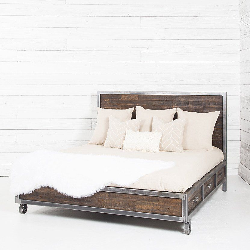 Semi Industrial Bed With Storage Bedroom Design Master Bedroom