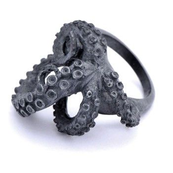 Octopus Black Silver Tentacles Ring - WANT!