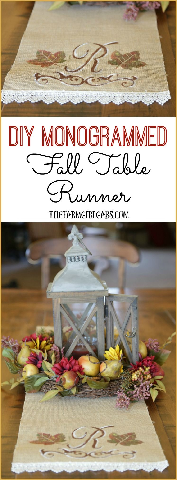 DIY Monogrammed Fall Table Runner Fall table, Diy