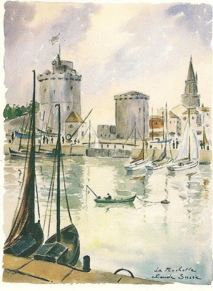 Carte postale 12 x 9 1 2 aquarelle de claude suire la for Garage du port la rochelle