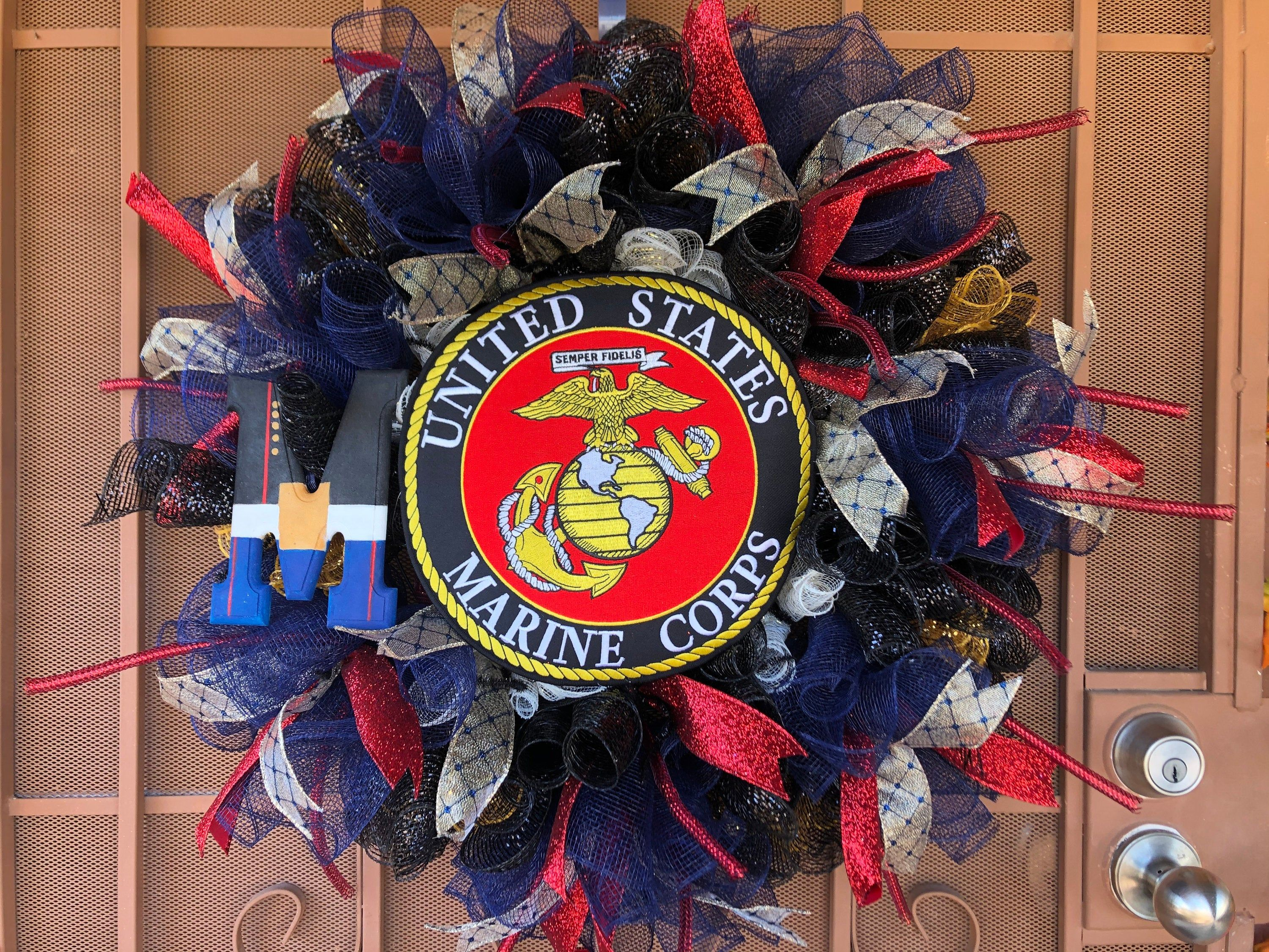 USMC Dress Blues Inspired Wreath with Hand Painted