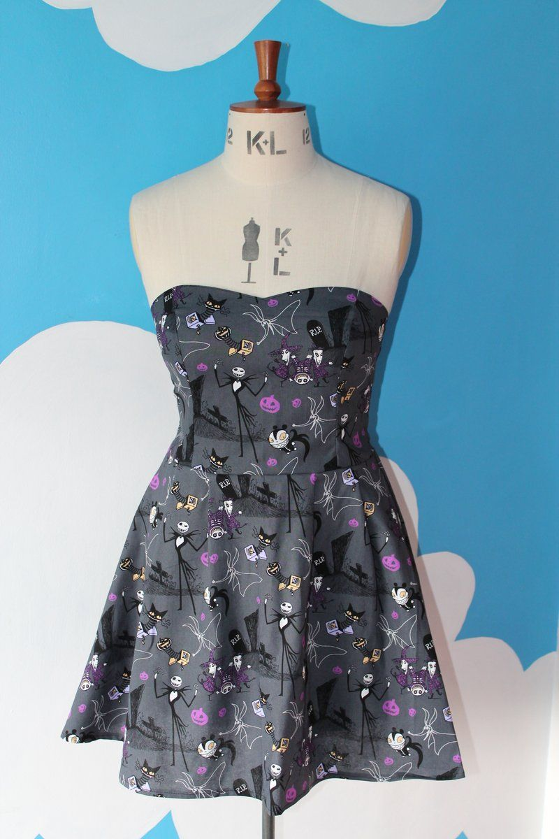 awesome nightmare before christmas sweet heart dress with pleated flared skirt and elasticated back panel, so it stretches for a perfect fit. made ...