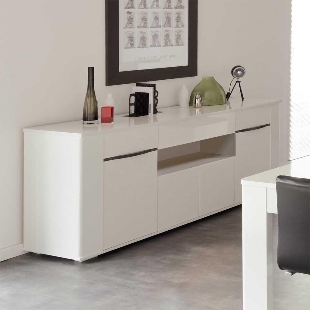 Hochglanz Sideboard In Weiss 200 Cm Breit Wohnzimmerschrankkommodesidebordwohnzimmer