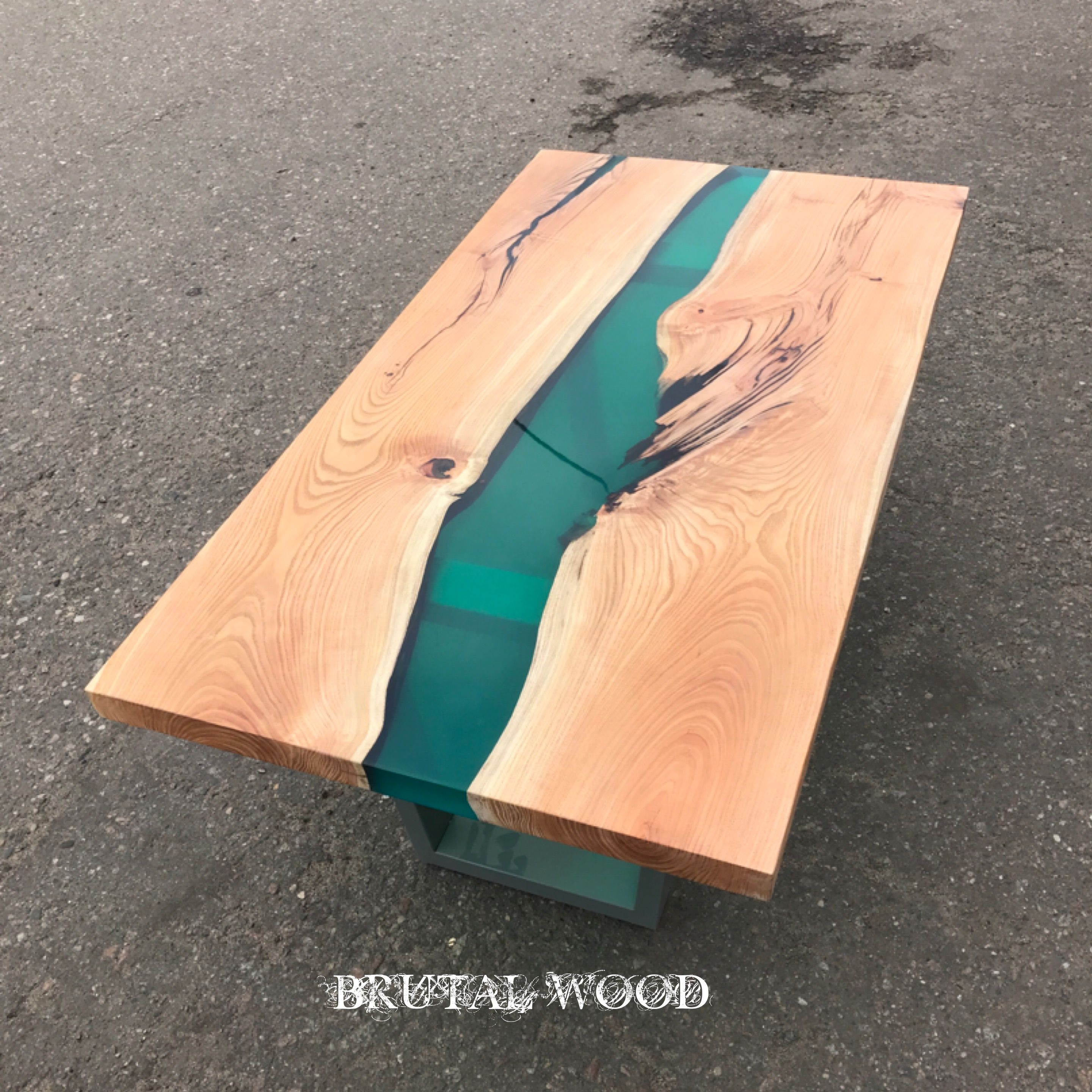 Table River From Acacia Slabs With Epoxy Filling Massivholztisch