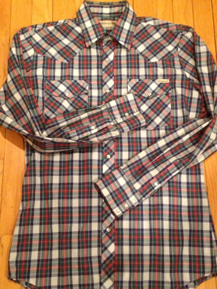 18837d79875e Vintage Nos Sears Roebuck Plaid Western Button Up Long Sleeve Shirt M Long