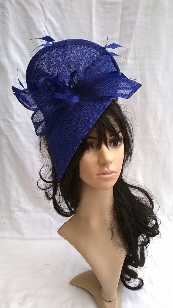 Sapphire Blue sinamay fascinator ..styled with swirls & diamond cut feathers #fascinatorstyles