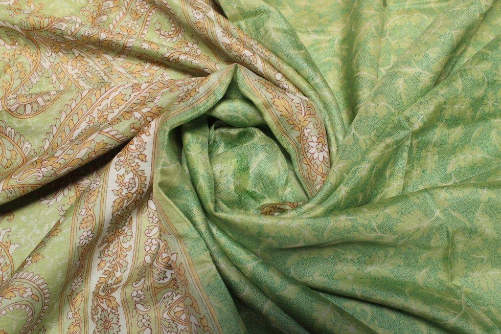Beautiful Vintage Pure Silk Sari Dressmaking Used Fabric Craft Sari 5 Yard Floral Multi Color Soft Woven Wrap Decor #PS 3292 #saridress