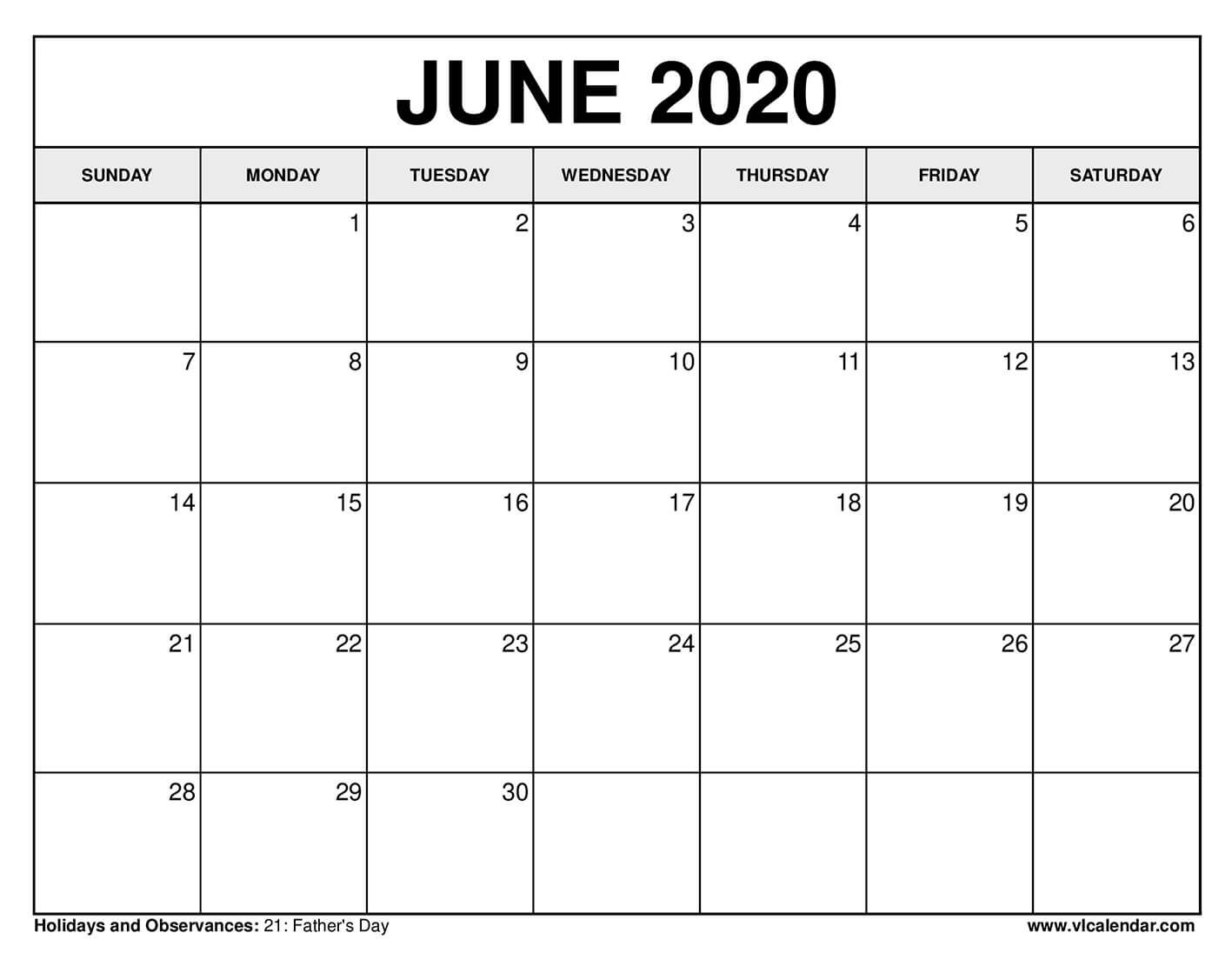 Printable June 2020 Calendars in 2020 Calendar for april