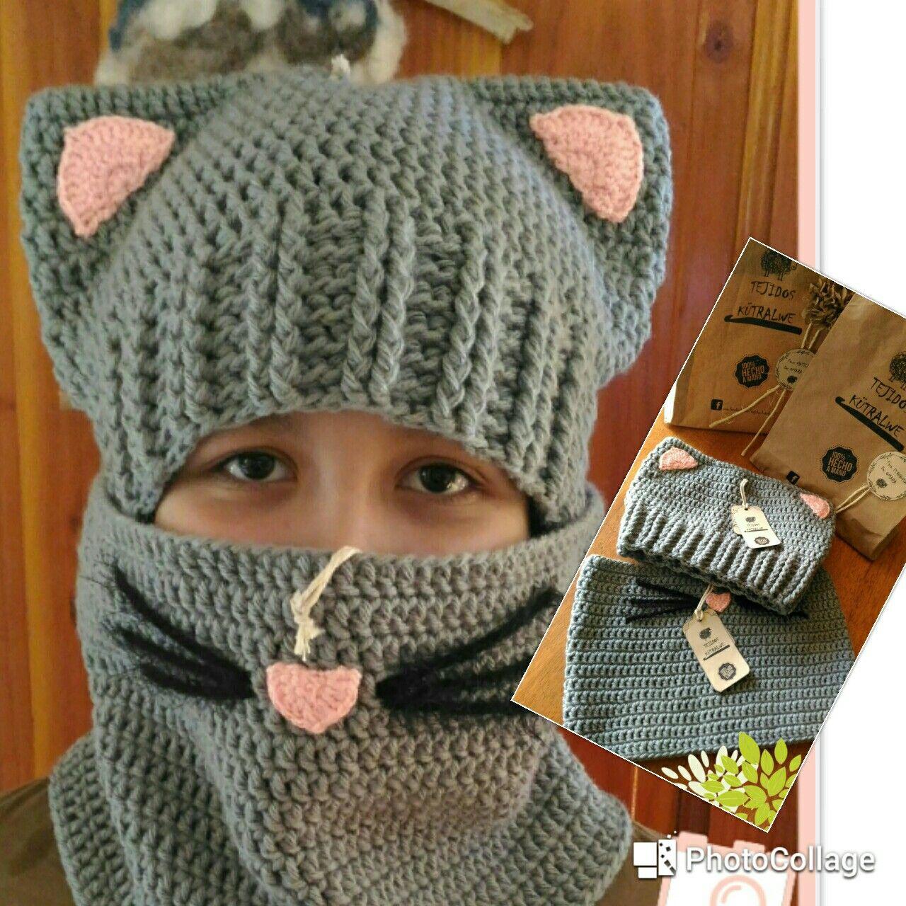 Gorro gatita a crochet | Gorros a crochet | Pinterest | Gorros, Gato ...