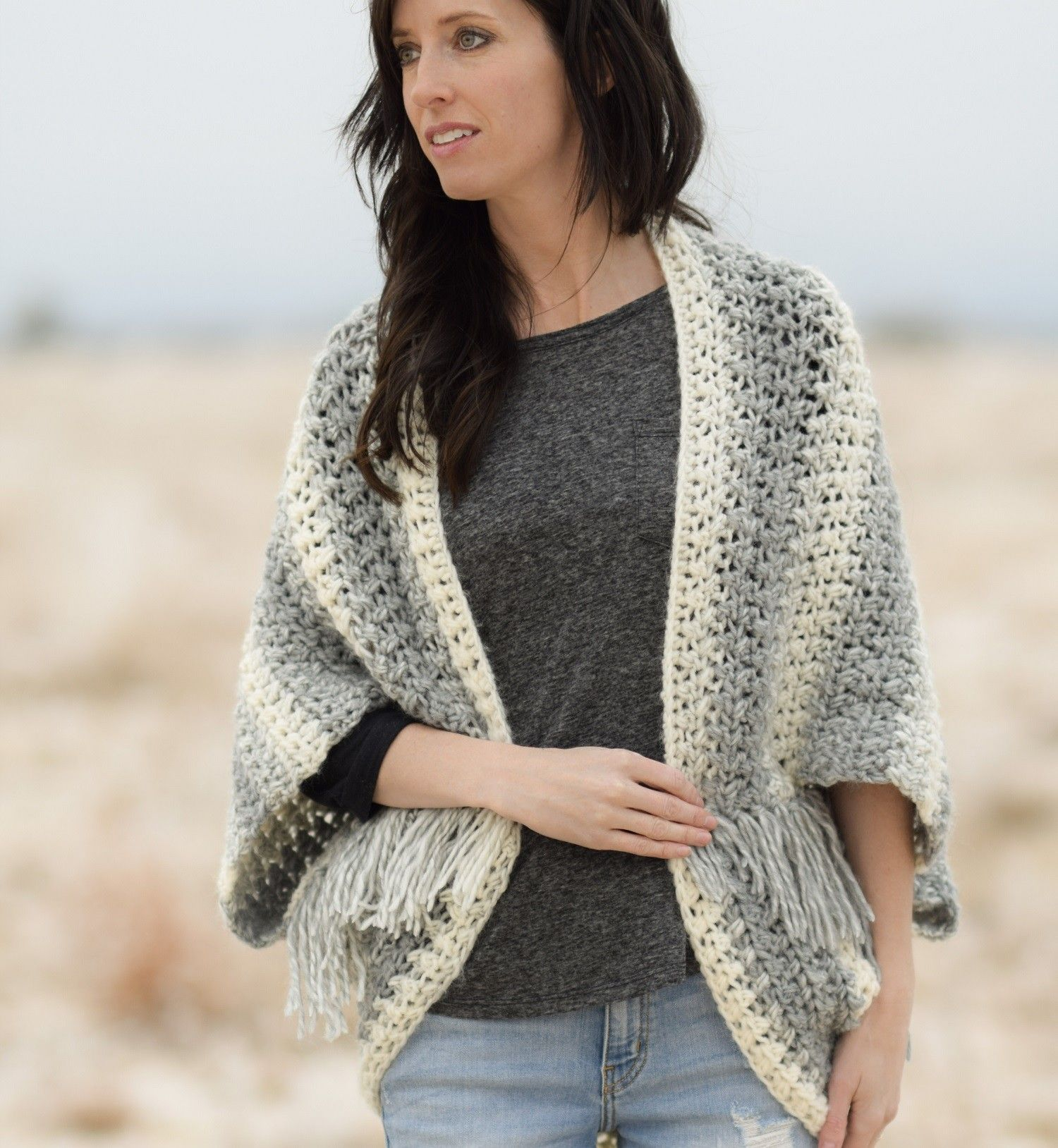 Crochet Kit - Light Frost Easy Blanket Sweater #blanketsweater