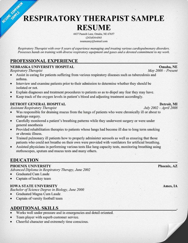 Resume Resume Sample Respiratory Therapist free resume respiratory therapist httpresumecompanion this example is of the best quality and written by our professional writers get career help