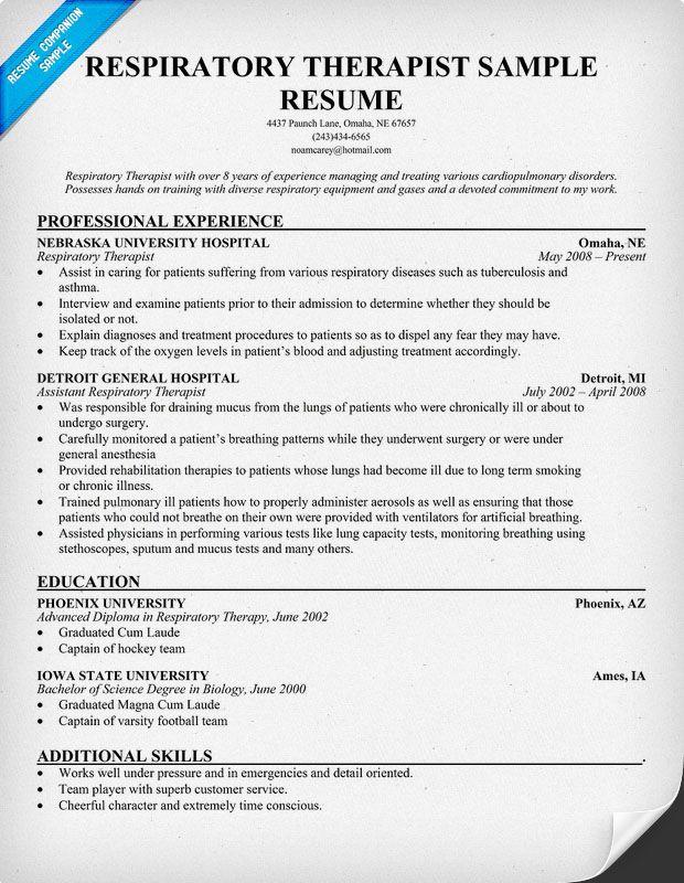 Respiratory Therapist Resume Sample Resume Companion Respiratory Therapist Student Respiratory Therapist Respiratory Therapist Jobs