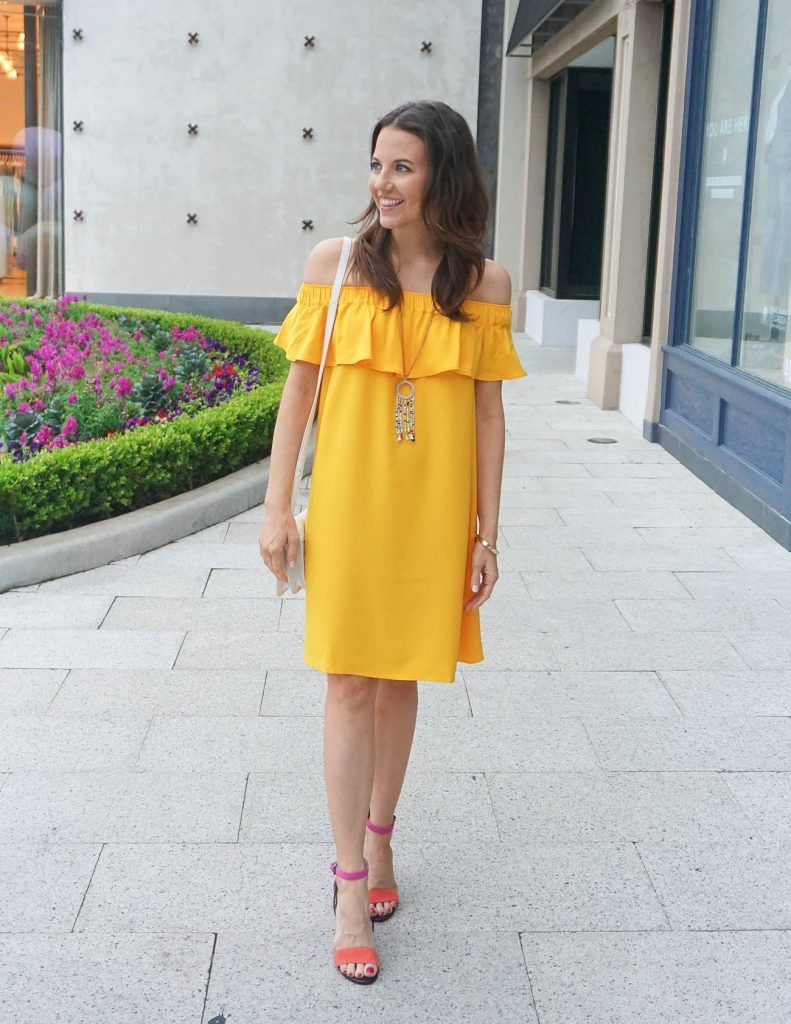 dae4198a575b5e Yellow Off the Shoulder Dress   Lady in Violet   Houston Fashion Blogger    Bright Shoes