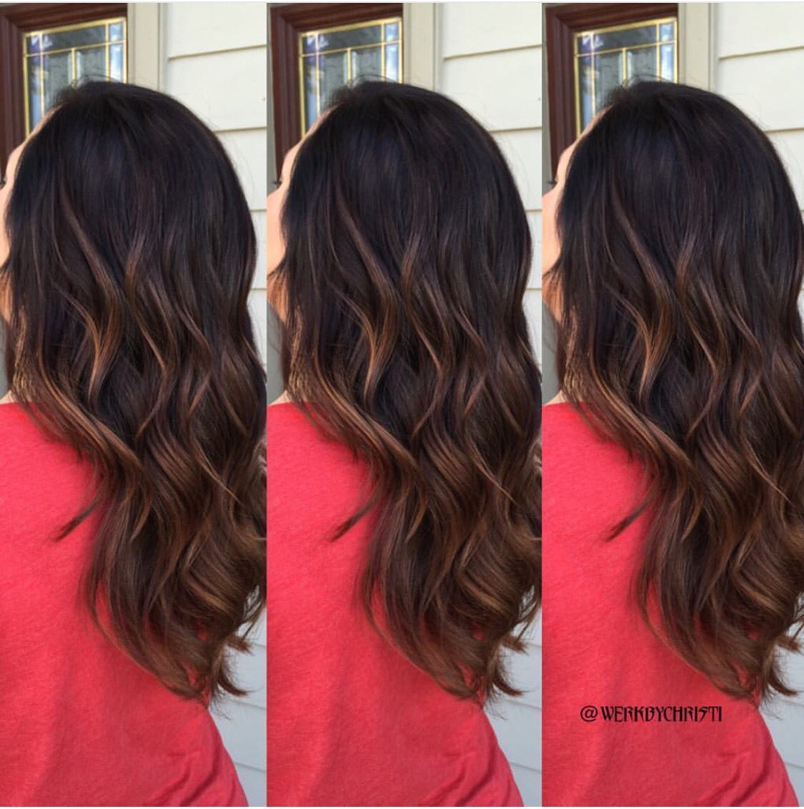 Brunette Dark Hair Balayage Ombre Caramel Hair Color Caramel