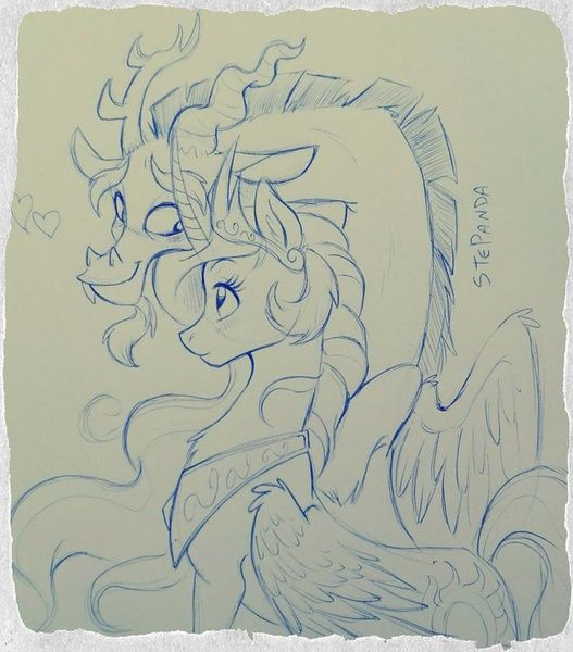 #948410 - artist:stepandy, discord, dislestia, love heart, princess celestia, safe, shipping, sketch, straight, traditional art - Derpibooru - My Little Pony: Friendship is Magic Imageboard