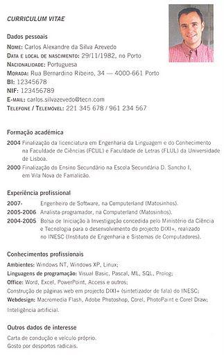 Portugues Curriculum Vitae Modelo Simples R I Pinterest
