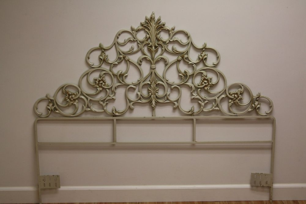Hollywood Regency French Provincial Ornate Gold White Queen Metal Bed Headboard Hollywoodregency Queen Metal Bed Metal Beds Headboards For Beds