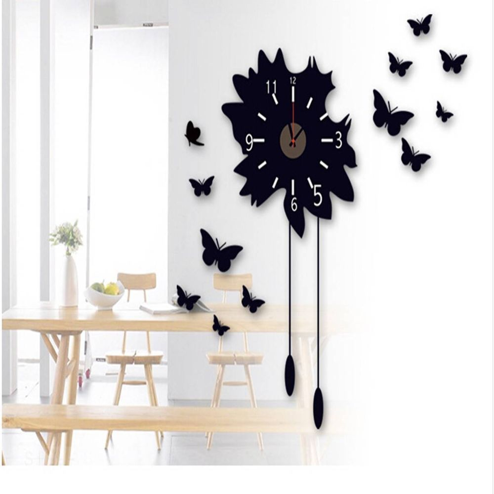 Fashion Black Butterfly Watch Wall Clock Decal Stickers Vinyl DIY Home Decor