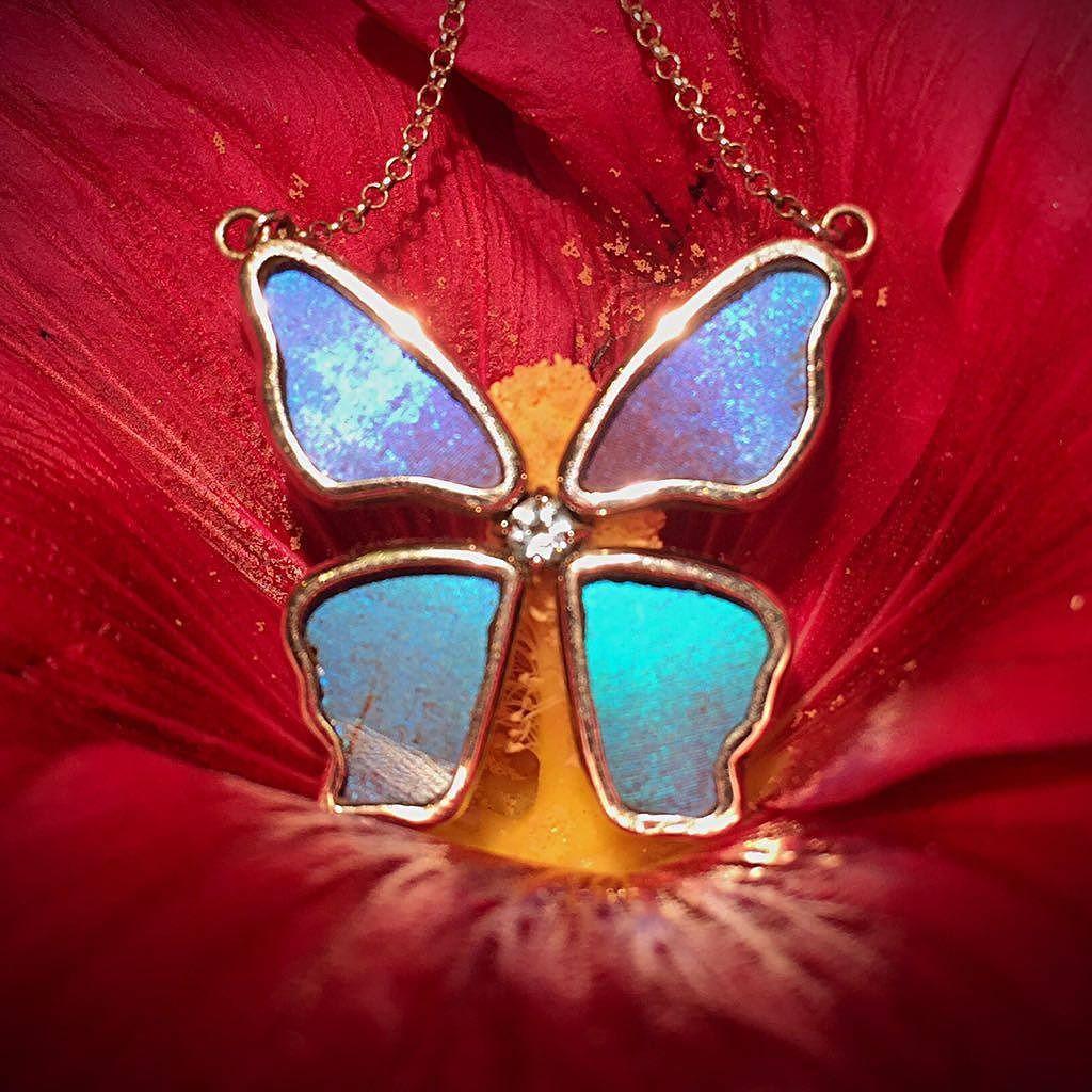 فراشة كاملة من أجنحة الفراشات الحقيقية كوني مميزة Realbutterflywing Terraeclat Jewellery Gemstones Fashion Unique Gemstones Jewelry Art Real Butterfly Wings
