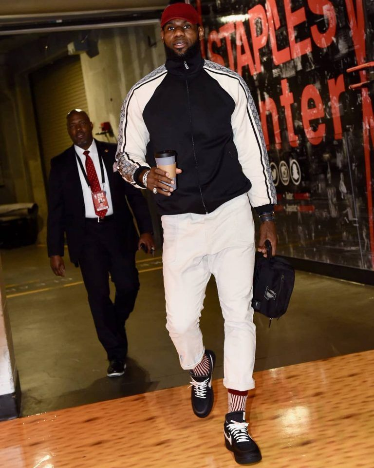 26ef541a3f0 LeBron James Rocks Gucci Jacket And Off-White X Nike Sneakers ...