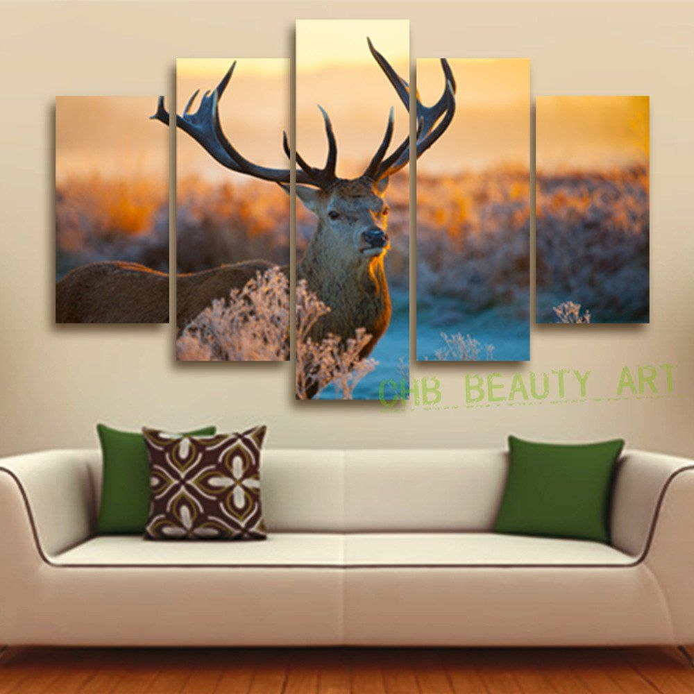 Paintings For Living Room Wall 5 Pieces Unframed The Mosse Canvas Painting For Living Room Home