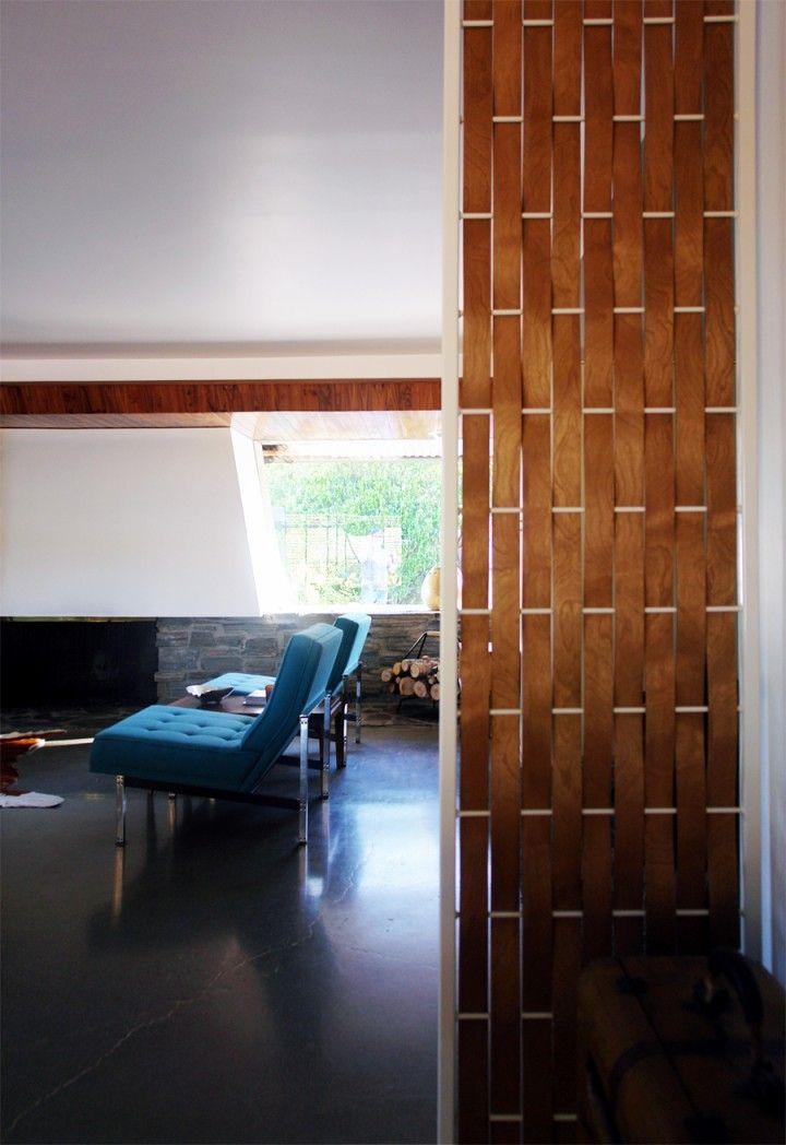Wooden Basket Weave Room Divider