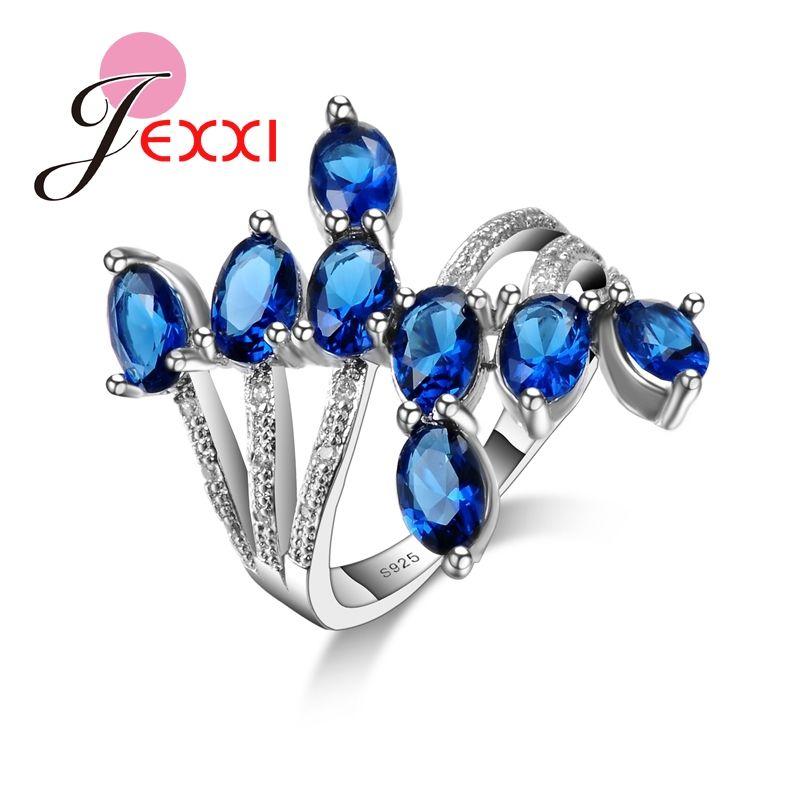 Patico jexxi nuovo stile di modo dell'anello dei monili elegante 925 sterling silver fidanzamento fedi per le donne da sposa bijoux