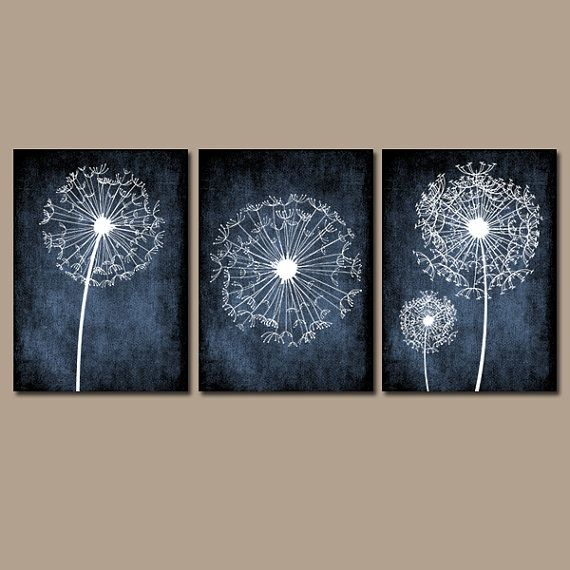 Blue Canvas Wall Art dandelion wall art, flower black white chalkboard custom grunge