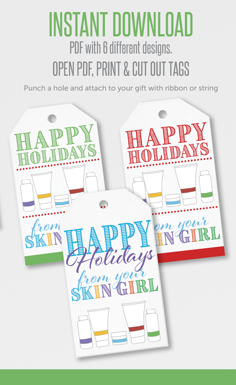 These SUPER CUTE printable gift tags are so easy to get. Kindly visit itwvisions.com, instant download of a high resolution PDF, Open PDF, then print. Cut out gift tags, punch hole in top and attach to your gift with your favorite string or ribbon. Great for Rodan + Fields consultants
