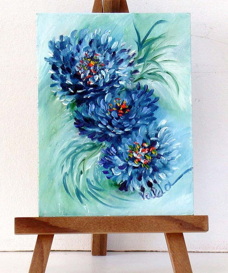 Blue Mum Flowers Original Miniature Oil Painting Gift Idea