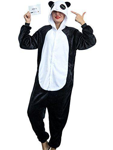 iSZEYU Adult Onesie Panda Bear Pajama for Women Cosplay Animal Halloween Costume