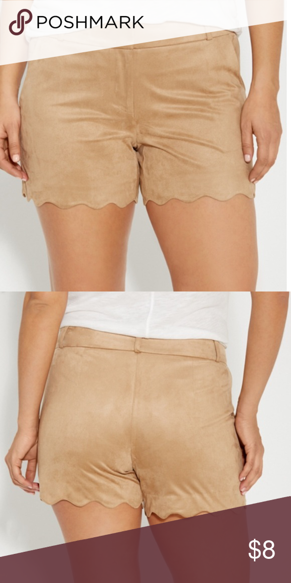 Faux Suede Taupe Scallop Shorts Size 15/16 Faux Suede Taupe Scallop Smart Shorts, Functional Front Pockets, Super Soft Fabric, Button/2 Clip/Zipper Closure, Scalloped Bottom Hem, Machine Washable, Sits At Hip, Relaxed Hip & Thigh, Brand New In Sealed Packaging. SIZE IS 15/16 Maurices Shorts