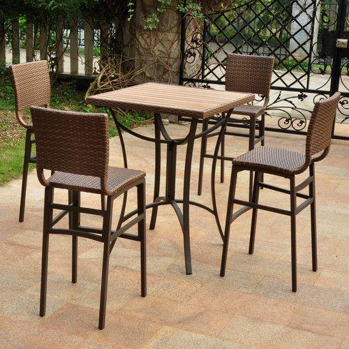 Katzer 5 Piece Bar Height Dining Set Outdoor Patio Furniture Sets Wood Patio Furniture Patio Furniture Sets