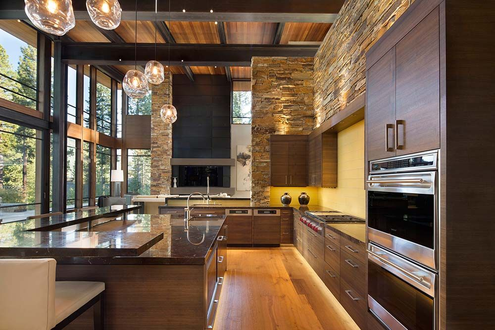 modern kitchen home interior high quality pictures   Fabulous mountain modern retreat in the High Sierras ...