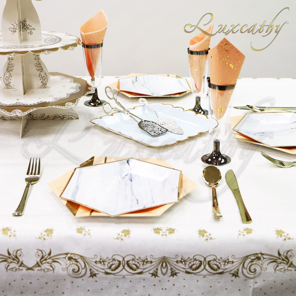 Disposable White Table Cover With Gold Lace Edge 55 By Inches Square