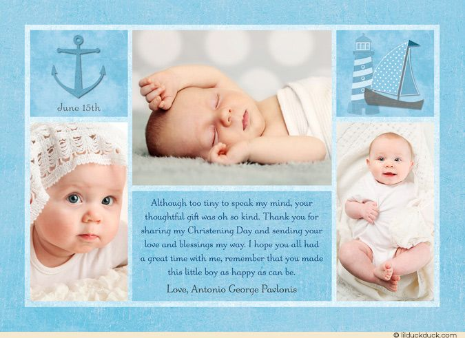 Elegant Christening Thank You Card | Best Photo black white and ...