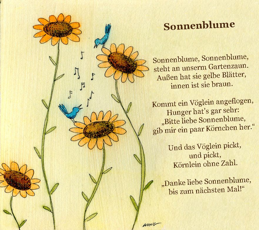 Sonnenblumen Gedicht Kindergarten Erzieherin Kita Kinder Erziehung ...